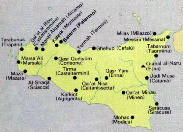 carte de l'invasion arabe en Sicile, préparation bac italien