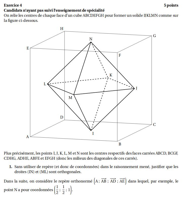 Corrige Bac Maths S Washington 2019 Geometrie Dans L Espace Soutien Scolaire En Ligne Profexpress
