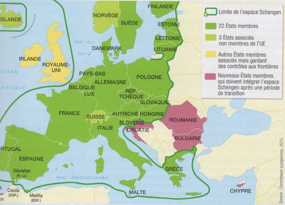 cours de géo collège, carte de l'espace Schengen