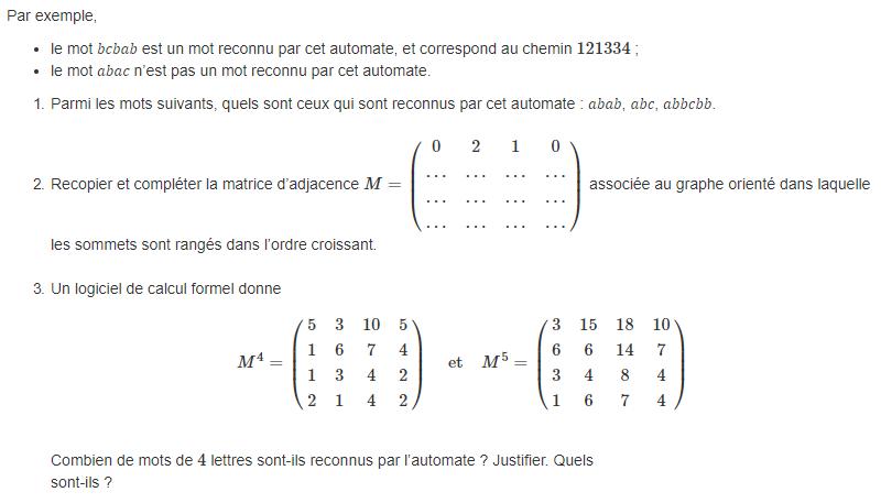 Corrige Bac Es Maths 2019 Amerique Du Nord Graphes Matrices Et Algorithme De Dijkstra Soutien Scolaire En Ligne Profexpress